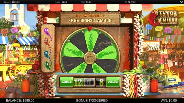 Kolo štěstí (resp. free spinů) - Výherní automat Bonanza 2: Extra Chilli (Big Time Gaming)