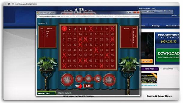 Keno hra v Absolute Poker herně
