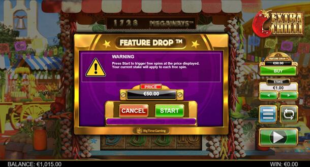 Potvrzení aktivace Feature Buy - výherní automat Bonanza 2: Extra Chilli (Big Time Gaming)